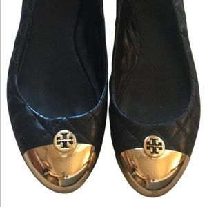 Tory Burch Cap Toe Flats Gold Black Flats 7